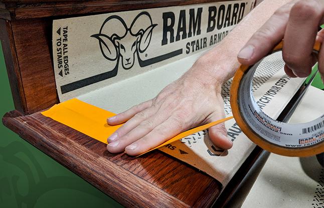 Applying Ram Board Stair Protector